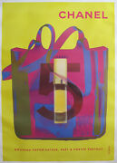 1998 Original No.5 Poster Yellow And Pink Fashion Advertisement Poster