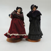 Hallmark Victorian Carolers Grace And Lizzie 1990 Limited Edition Figurines