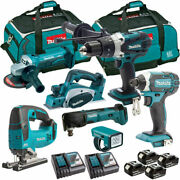 Makita 18v Li-ion 7 Piece Monster Kit With 4 X 5.0ah Batteries And Charger In Bag
