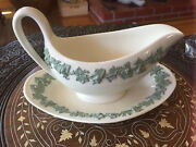 Wedgwood Queensware Green Grey On White Gravy Sauce Boat W Attached Under Tray