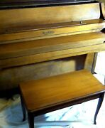 Henry F. Miller Upright Piano With Piano Bench Genuine Walnut Wood