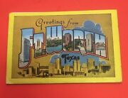 Ba490 Linen Greetings From Fort Worth Texas Souvenir Postcards