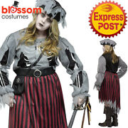 Ca460 Zombie Pirate Queen Undead Halloween Plus Womens Ghost Dress Up Costume