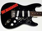 The Runaways Autographed Guitar Lita Ford And Cherie Currie - W/ Coa