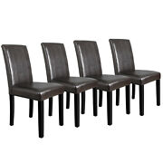 4 Dining Room Chairs Formal Parson Chairs With Leather Accent Solid Wood Leg