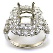 Emerald Cut Engagement Ring Setting With 1.83 Diamond Accents In 18k White Gold