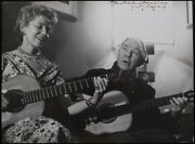 Carl Sandburg Poet Signed Photograph Playing Guitar, Inscribed To Ethel Smith