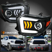 For 2014-2021 Toyota Tundra Black Projector Headlights Led Sequential Signal