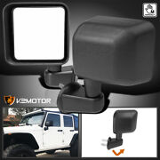 For 2007-2018 Jeep Wrangler Black Side View Door Mirrors Manual Replacement Pair