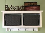 Coat Rack Wall Hanging Shelf With Cubbies And Baskets With Coat Hooks Entryway