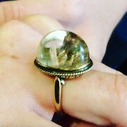 Rare Antique Rock Crystal And Gold Ring With Stalagmites Growing In The Crystal