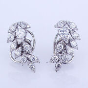 1.46ct Diamond Leaf Pattern Fashion Earrings F-g Si In 18k White Gold 0.75and039and039