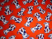 Vtg Acrylic Knit Fabric Red White Blue Puppies Dogs Novelty 60 X 2yds
