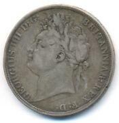 Great Britain Uk King George Iv Silver Crown 1821 Secundo Edge F/vf
