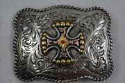 Justin Silver Belt Buckle With A Canterbury Cross 8012253