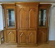Tv Entertainment Center Wall Unitandnbsp 3 Piece Oak Glass 6and039x8and039x2and039