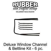 1987 - 1998 Ford Truck And Bronco Deluxe Window Run Channel And Beltline Kit - 6 Pc.