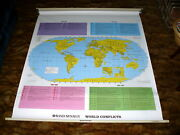 Rand Mcnally World Conflicts Classroom Pull-down Map @ Vintage War School