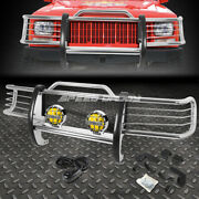 Chrome Brush Grill Guard+round Amber Fog Light For 84-01 Jeep Cherokee Xj Suv