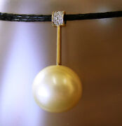 17.4mm Gold South Sea Pearl 100 Untreated+diamonds+18ct Solid Yg Pendant+cert