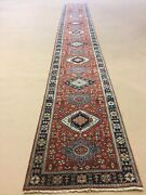2andrsquo.6andrdquo X 20andrsquo Rust Navy Blue Fine Geometric Oriental Rug Long Runner Hand Knotted