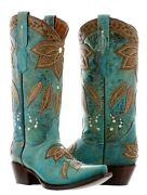 Womens Turquoise Western Cowgirl Boots Brown Overlay Leather Summer Leaves Snip