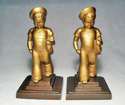 Sailor Boy With Toy Boat Antique Grey Metal Bookends By Frankart 1930/nice