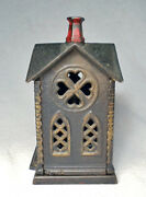Antique Coin Bank/very Nice 1882 Cast Iron Villa Church By Kyser And Rex