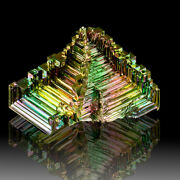 3.5 Shiny Neon Colored 3-dimensional Hoppered Bismuth Crystals Germany For Sale