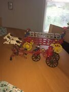 Toy Cast Iron Hook And Ladder Horse Drawn
