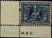 330 Siderographers Initials-m.r.g. 1907 5c Jamestown Expo Issue Mint-og/nh