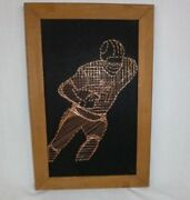 Vtg Mid Century String And Nail Copper Wire Wall Art Football Player Sports