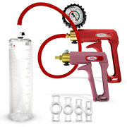 Leluv Penis Pump Maxi Red/purple + Premium Hose And 4 Constriction Rings For E.d