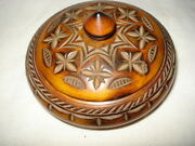 Vintage Carved Wood Round Snuff Box Solid Wooden Tobacco Box