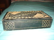 Antique Candle Box Wood Box Hand Engraved Large Dovetailed Box Rare