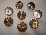 Antique Art Deco Lot Of 8 Black Onix Silvered Glass Buttons Rare