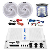 Pyle Marine 2-channel Bluetooth Amp + Kit 2x 6.5 White Speakers 50 Ft Wire