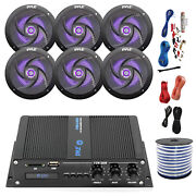 Pyle Marine 6-channel Bluetooth Amp + Kit 6x 6.5 Led Black Speakers50 Ft Wire