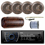 Pyle Marine Bluetooth Camo Radio + Cover 4x 6.5and039and039 Speakers Antenna 50 Ft Wire