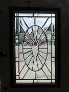 Antique Oak Door With Beveled Leaded Glass 39 X 83 Architectural Salvage