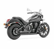 Vance And Hines 48397 Black Twin Slash Staggered Exhaust For Kawasaki Vn900 Vulcan