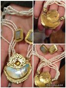 Exquisite Vintage Tzipora Hoynik 14k, Tiny Seed Pearl And Opal Necklace And Earrings