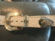 Montana Silversmiths Belt Buckle Silver And Gold And Chambers White Leather Belt