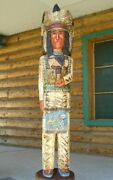 6 Ft Cigar Store Indian Chief Sacred Buffalo 6and039 Wooden Sculpture By F Gallagher