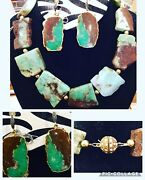 Gorgeous New W/ Tags Chrysoprase 18k Gold And Diamonds Necklace And Earrings Set