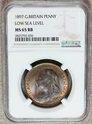 1897 Great Britain One Penny Low Sea Level Bronze Coin - Ngc Ms 65 Rb - Km 790