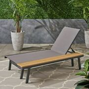 John Outdoor Mesh And Aluminum Chaise Lounge With Side Table