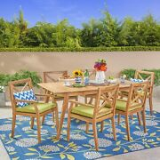 Brinkley Outdoor 7-piece Acacia Wood Dining Set With Cushions