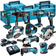 Makita 18v Li-ion 10 Piece Monster Kit With 4 X 5.0ah Batteries Charger And Case