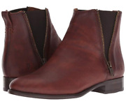 New In Box Womens Frye Carly Double Zip Chelsea Cognac Ankle Boots Size 7